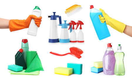 Collage with photos of people holding cleaning supplies on white background, closeup