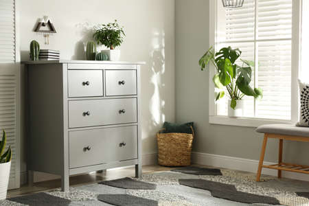 Grey chest of drawers in stylish room interior