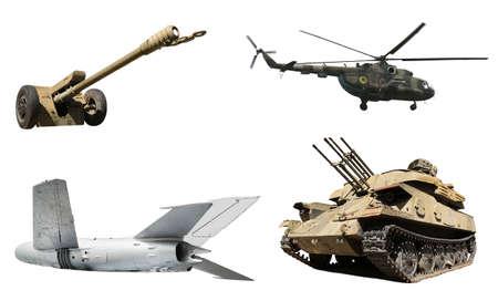 Set of different military machinery on white background Zdjęcie Seryjne