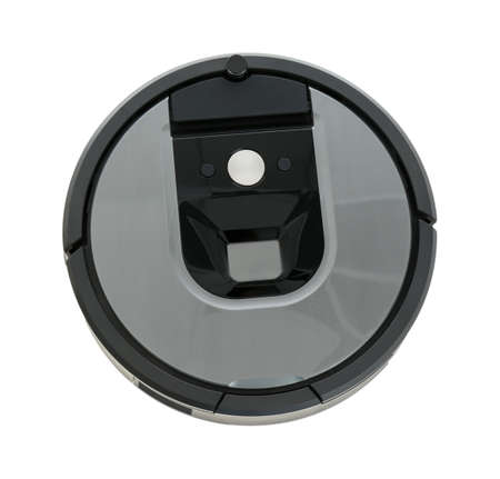 Modern robotic vacuum cleaner isolated on white, top view