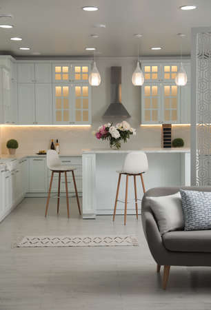 Comfortable sofa and modern kitchen in apartment. Interior design