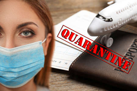 Stop travelling during coronavirus quarantine. Woman with medical mask