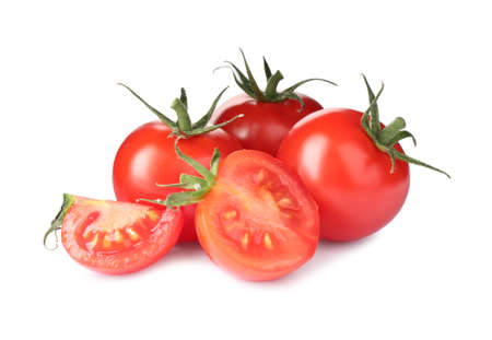 Tasty fresh raw tomatoes isolated on white