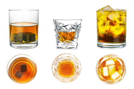 Collage with glasses of whiskey on white background