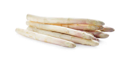 Pile of fresh raw asparagus isolated on white