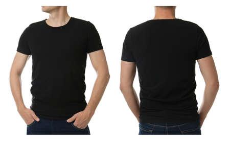 Man in black t-shirt on white background, closeup Фото со стока