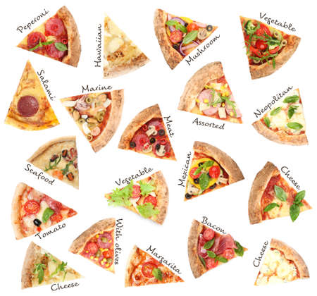 Set with slices of different pizzas on white background, top view  Reklamní fotografie