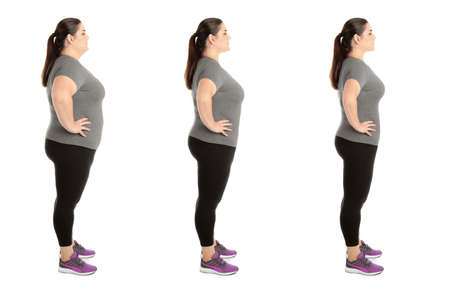 Collage with photos of overweight woman before and after weight loss on white background