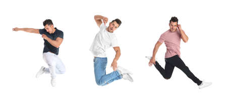 Collage of emotional young man wearing fashion clothes jumping on white background 免版税图像