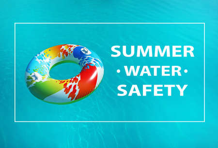 Summer water safety. Colorful inflatable ring floating in swimming pool