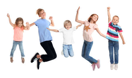 Collage with photos of jumping children on white background Banque d'images