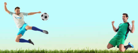 Young men playing football on color background, space for text. Banner design