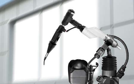 Modern electronic laboratory robot manipulator indoors, closeup. Machine learning Foto de archivo