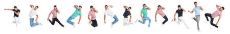 Collage of emotional young man wearing fashion clothes jumping on white background. Banner design 免版税图像