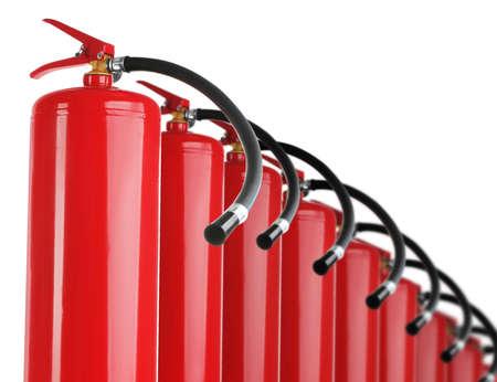 Set with fire extinguishers on white background Zdjęcie Seryjne