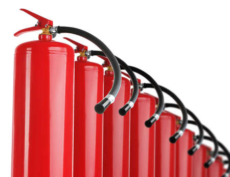 Set with fire extinguishers on white background Stockfoto