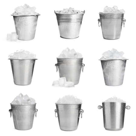Set of different metal buckets with ice cubes on white background