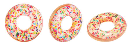 Set with bright inflatable donut rings on white background, banner design