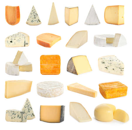 Set with different sorts of cheese on white background 写真素材