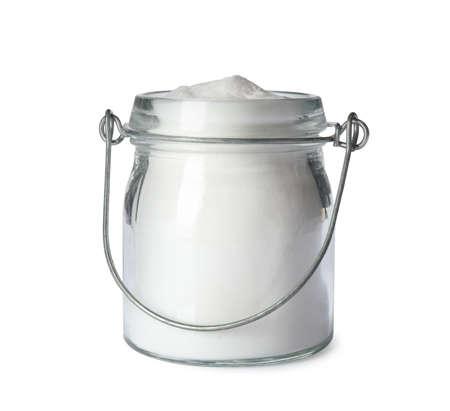 Jar with baking soda isolated on white