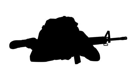 Silhouette of military soldier with assault rifle on white background, banner. Military service