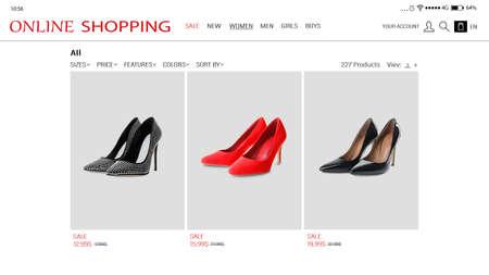Website of online shop on smartphone screen