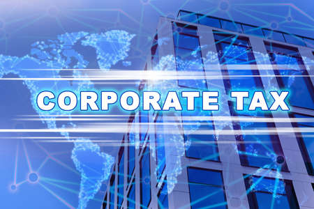 Corporate tax concept. Double exposure of digital world map and modern office building outdoors