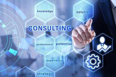 Consulting concept. Businessman pointing on blurred background, closeup