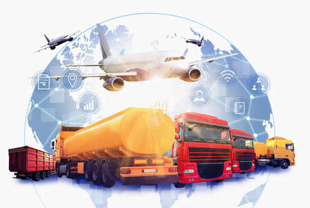 Logistics concept. Multiple exposure of different transports and world globe