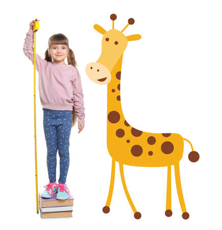 Little girl measuring height and drawing of giraffe on white background