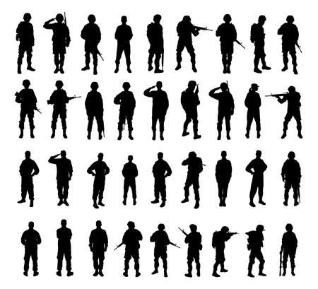 Collage with silhouettes of soldiers on white background. Military service