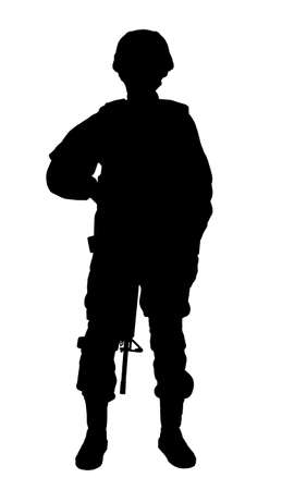 Silhouette of soldier with assault rifle on white background. Military service