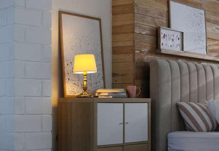 Modern cabinet in beautiful bedroom. Interior design
