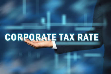 Corporate tax rate. Man against color background, closeup Archivio Fotografico - 151056770