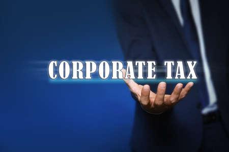 Corporate tax concept. Man on color background, closeup Archivio Fotografico - 151057258