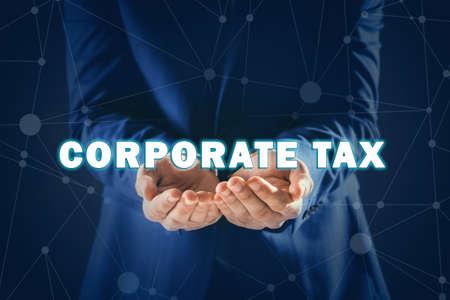 Corporate tax concept. Man on color background, closeup