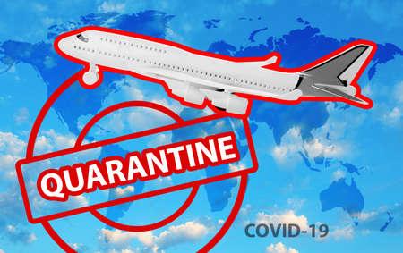 Closure of air traffic during coronavirus outbreak. Airplane and stamp with inscription QUARANTINE 免版税图像