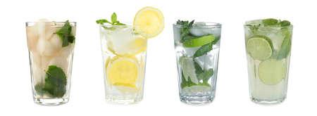 Set of different refreshing drinks on white background. Banner design