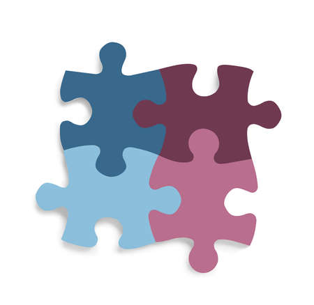 Color jigsaw puzzle pieces on white background, top view