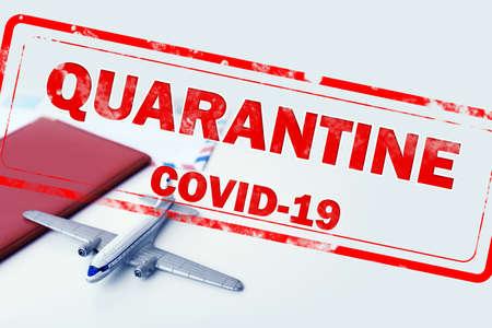 Closure of air traffic during coronavirus outbreak. Toy airplane, passport and stamp with inscription QUARANTINE 免版税图像