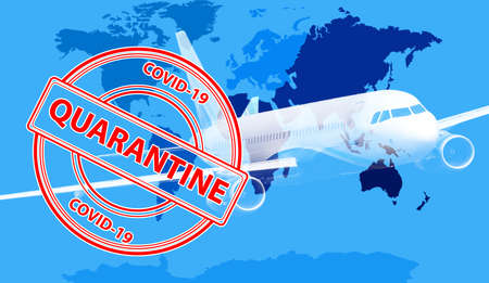 Closure of air traffic during coronavirus outbreak. Double exposure of airplane and world map, stamp with inscription QUARANTINE