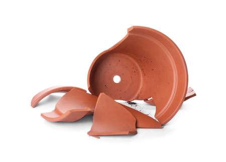Broken terracotta flower pot isolated on white Banco de Imagens