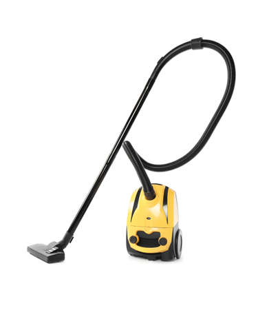 Modern yellow vacuum cleaner isolated on white