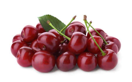 Bunch of juicy cherries on white background