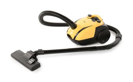 Modern yellow vacuum cleaner isolated on white Foto de archivo