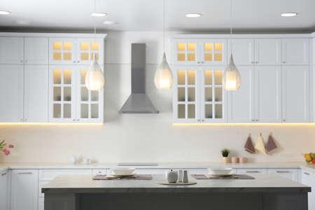 Beautiful kitchen interior with new stylish furniture