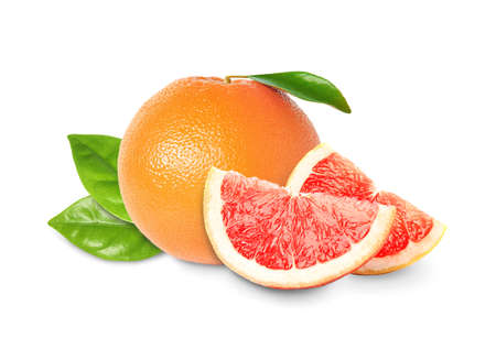Whole and cut grapefruits on white background