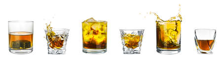 Collage with glasses of whiskey on white background. Banner design