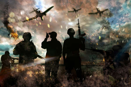 Silhouettes of soldiers and planes in combat zone. Military service