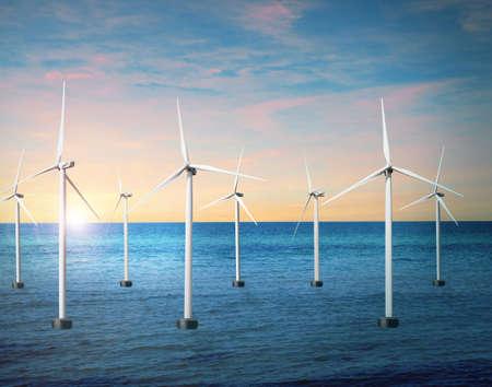 Floating wind turbines installed in sea. Alternative energy source Stock fotó